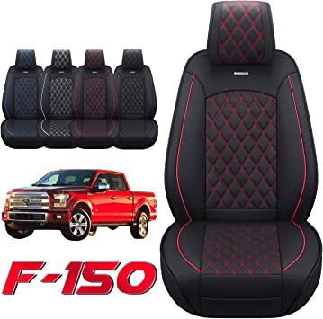 Aierxuan Car Seat Covers Front Set with Waterproof Leather Automotive Vehicle Cushion for Cars SUV Pickup Truck Fit for 2009 to 2022 Ford F150 Carhartt and 2017 to 2022 F250 F350 F450(Black and Red): image