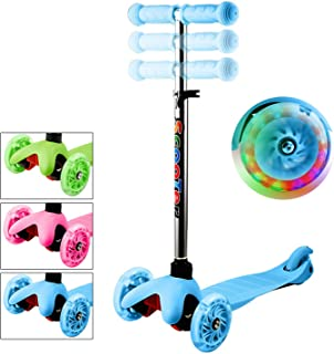 WeSkate Kids Scooter 3 Wheel with Light Up Wheel and Adjustable Height for Girls Boys Baby Children Toddlers Age 2-12