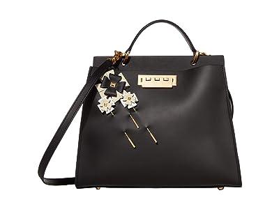 ZAC Zac Posen Earthette Double Compartment w/ Floral Brooches Multi (Black) Handbags