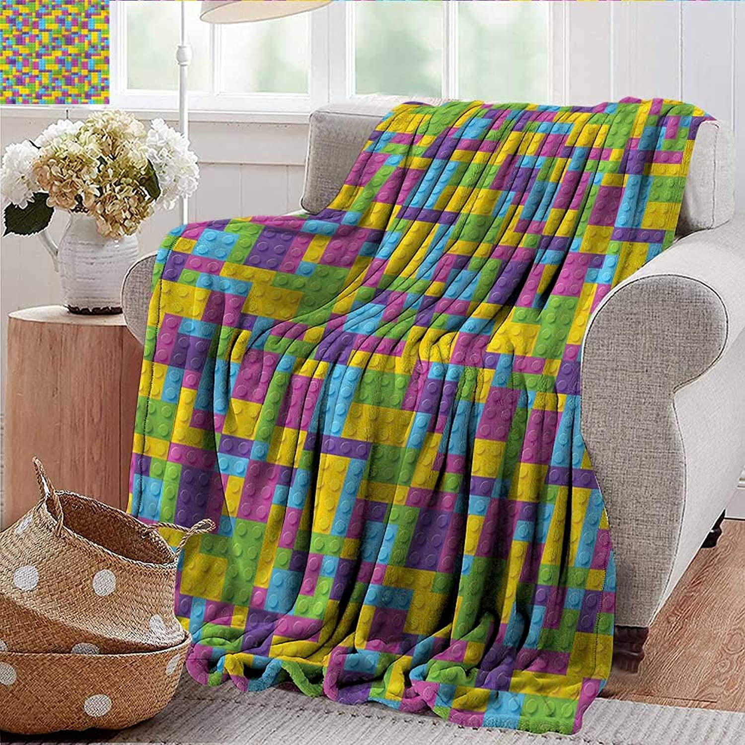 Xaviera Doherty Couch Blanket Kids,colorful Blocks Game Cube Warm & Hypoallergenic Washable Couch Bed Throws, Microfiber 50 x60