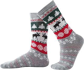 Rehomy Calcetines de Navidad unisex de algodón peinado de Navidad para adultos y niños, 1 par