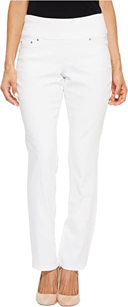 Petite Peri Straight Pull-On Denim Jeans in White