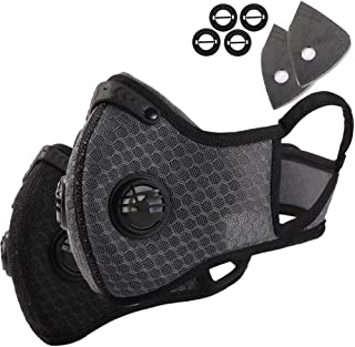Novemkada Dust Mask - Activated Carbon N99 Earloop Dustproof Masks with Extra Filter Cotton Sheet and Valves for Exhaust Gas, Pollen Allergy, PM2.5, Running, Cycling, Outdoor Activities