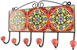 Indianshelf - Lot de 1 patère en céramique rouge à motif floral antirouille pour vêtements, clés, décoration d'intérieur