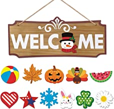 Interchangeable Welcome Sign Seasonal Festival Holiday Welcome Plywood Sign for Front Door Decor Wall Hanging Decorations ...