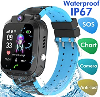 LDB Direct Kids Smartwatch Waterproof LBS/GPS Tracker with Phone SOS Camera Alarm Clock Screen Games for 3-12 Year Old Boys Girls Great Gift (Black)