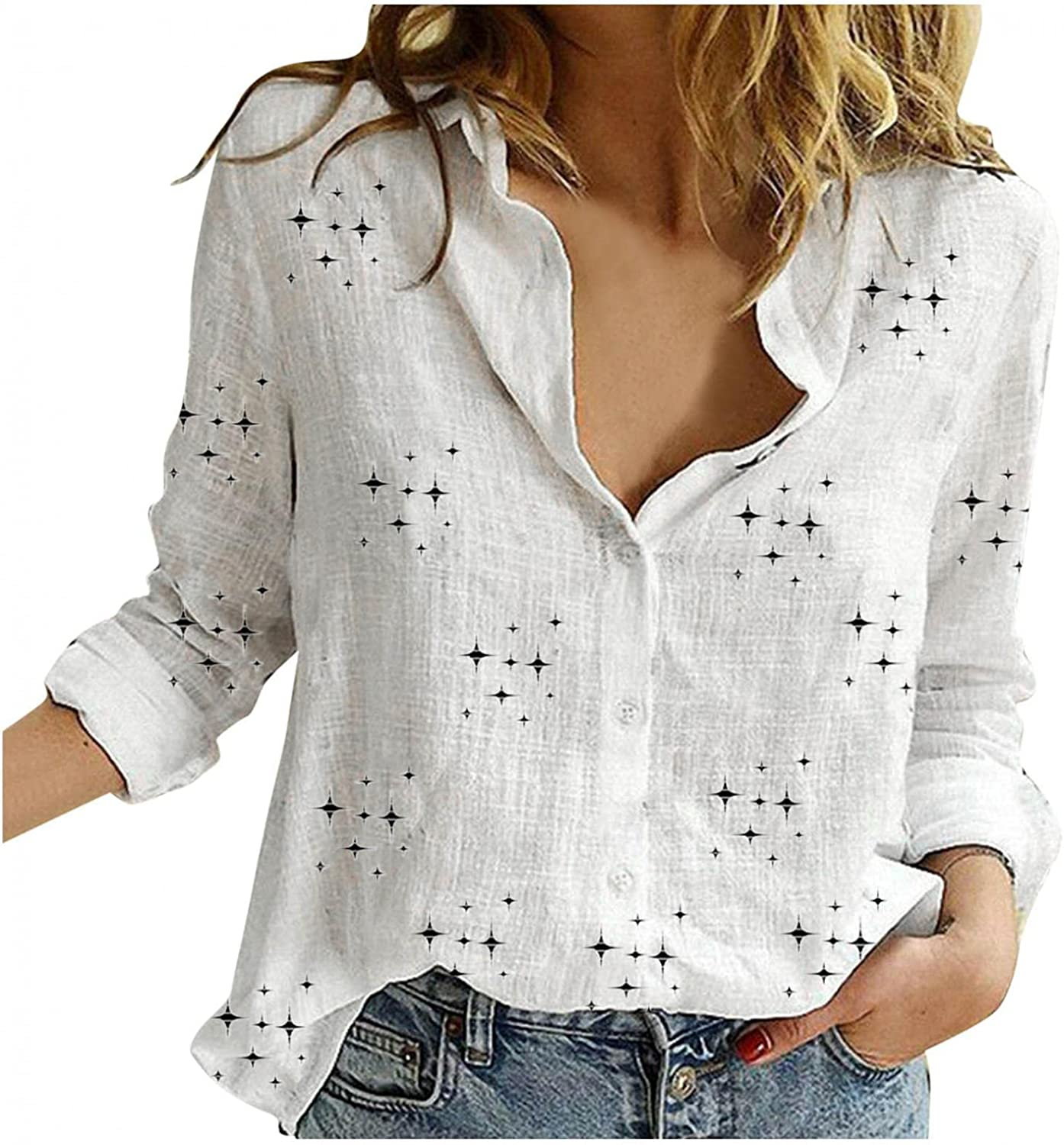 Jeepuch Long Sleeve Tee Shirts for Women, Womens Button Down Star Printed Long Sleeve Shirts Blouse Plus Size Tops