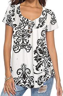 feec88d7b0e91b DEMO SHOW Donna Maglie a Manica Lunga Sciolto V Collo Bottone Camicia di  Henley Floreale Pieghettata