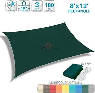 Patio Paradise 8' x 12' Dark Green Sun Shade Sail Rectangle Canopy - Permeable UV Block Fabric Durable Outdoor - Customized Available