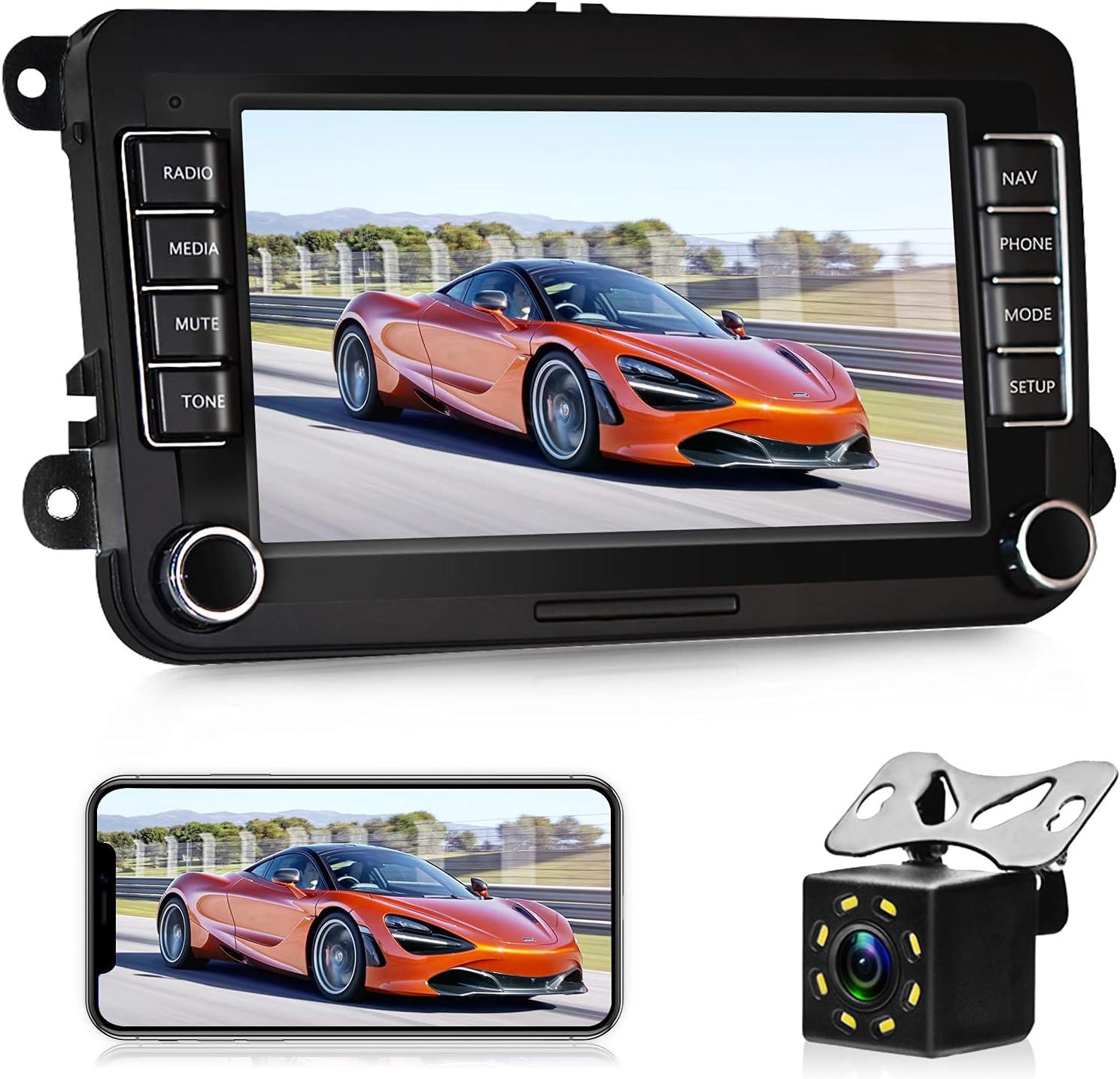 Radio de Coche 2 DIN Android 10.0 con Carplay para VW Golf V Vi Passat B6 Polo Skoda 7 Pulgadas HD Pantalla Táctil GPS Estéreo con WiFi Bluetooth RDS Dab SWC Enlace Espejo + Cámara Trasera