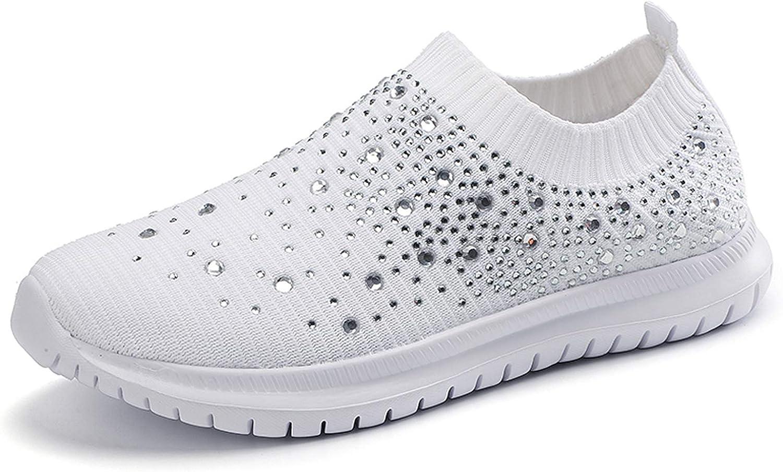 GOSPT Women's Mesh Walking Shoes Rhinestone Glitter Slip On Ballroom Jazz Latin Dance Sock Sneakers
