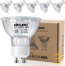DiCUNO GU10 LED Bulb,dimmable 4W 400LM Spotlight, Equivalent to 60W Halogen Lamp, Warm White 2700K, 220V, 120°Beam Angle, ...