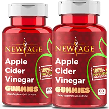 Apple Cider Vinegar Gummies by New Age - 2-Pack - 120 Count -Immunity & Detox - with The Mother, Gluten-Free, Vegan, Vitamin B9, B12, Pomegranate, Beetroot