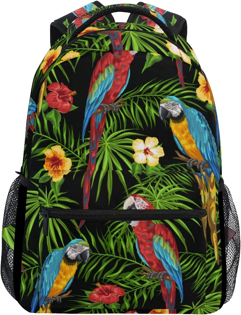 A Seed Backpack School Bag Deluxe OFFicial Parrot Boy Birds Leaves Tropical for