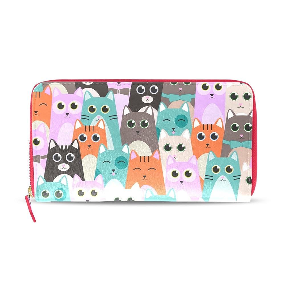 ホバー親密な計算可能AOMOKI 財布 レディース 長財布 大容量 猫柄 カラフル ラウンドファスナー PUレーザー 幅20*丈11cm