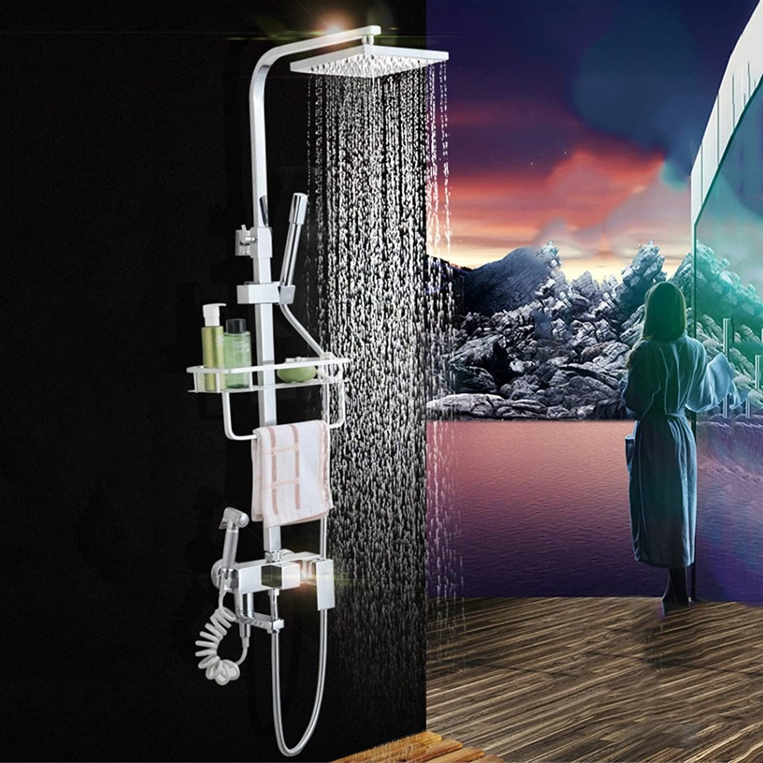 Square Thermostatic Shower Set 8 Inch Copper Nail Booster Pressure At The Top Of The Hot And Cold Water Mixing Valve Tap 3 Files