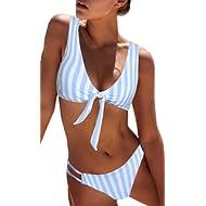 BMJL Women's Sexy Detachable Padded Cutout Push Up Striped Bikini Set Two Piece Swimsuit