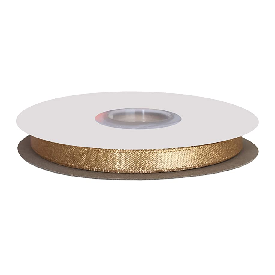 DUOQU 1/4 inch Wide Sparkle Satin Ribbon with Gold Glitter 20 Yards Roll Raw Silk