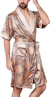 Men's Sleepwear Short Sleeve V-Neck Silk Bathrobe Summer Vintage Comfortable Sizes Trendy Patterned Comfortable Breathable...