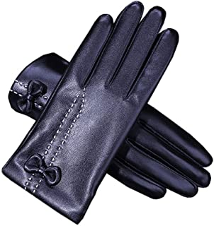 Ladies Leather Gloves Womens Soft Warm Velvety Lining Winter Gloves Touch Screen Mittens with One Bow Decoration (Black)