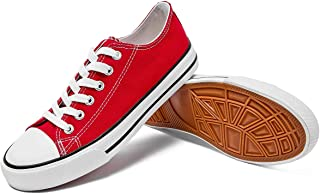 Womens Canvas Sneakers Low Top Lace Up Canvas Shoes Fashion Comfortable