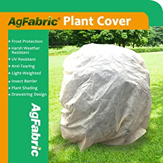 Agfabric Warm Worth Frost Blanket - 0.95 oz Fabric of 7'Dia Shrub Jacket, 3D Dome Plant Cover for Frost Protection, Tan