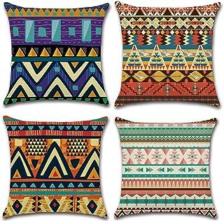 KAKABUQU Set of 4 Vintage Southwest Native American Throw Pillow Case 18x18 Inches Tribal Patterns Geometric Linen Home Vi...