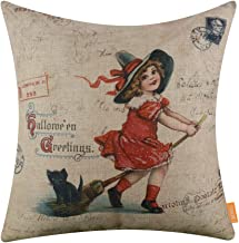 LINKWELL 18x18 inches Halloween Greetings Witch and Black Cat Burlap Throw Cushion Cover Pillowcase CC1376