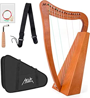 Aklot Lyre Harp Mahogany 15 String Nylon with Carry Bag Tuning Wrench String Strap