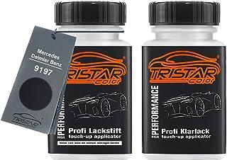 TRISTARcolor Autolack Lackstift Set für Mercedes/Daimler Benz 9197 Obsidianschwarz Metallic/Obsidian Black Metallic Basislack Klarlack je 50ml