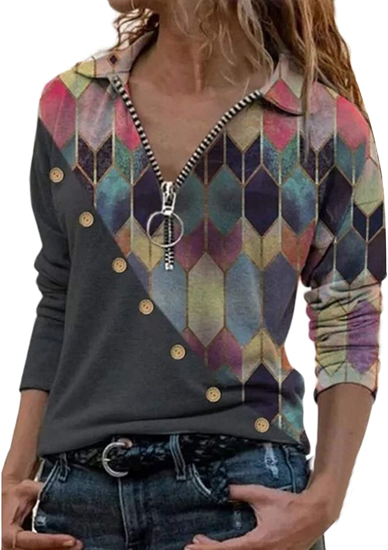 AODONG Sweatshirts for Women Sexy Casual V-Neck Long Sleeves Sweatshirts Color Block Blouse T-Shirt Henley Shirts