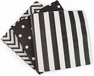 Anyneo Disposable 3-ply Party Napkins, Striped Chevron Polka Dot Paper Beverage Napkins for Birthday, Christmas or Anniversary Celebration, Cocktail Beverage Napkins 60-Count,13
