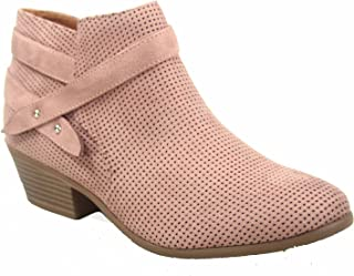 40eb12ba19c8b J. Adams FZ-Portia Women's Stylish Round Toe Low Heel Side Zipper  Perforated Ankle