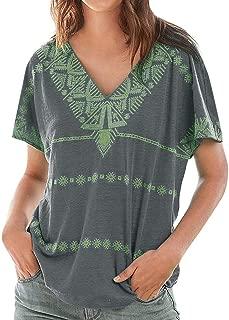 Fitfulvan Women's Bohemian Geometric Print T-Shirt V-Neck Casual Loose Short Sleeve Summer Fashion Tops