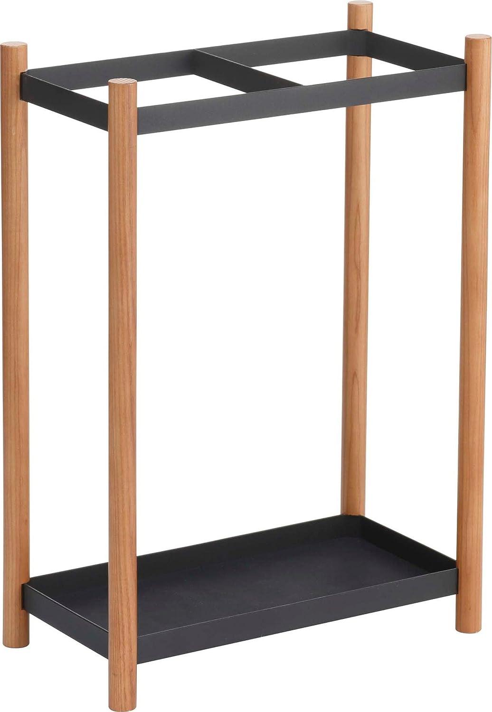 Minimalistic Open Umbrella Stand, Free Standing Rack, Cane Walking Sticks Holder, Black, 18-inch