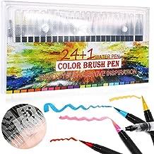 Litthing Rotuladores Pincel 20/24 Colores con 1 Pincel de Agua para Colorear con Tinta Acuarelable Punta Suave, Delicada, Flexible para Dibujar Cómic Caligrafía y Diseño de Letras (24+1+3)