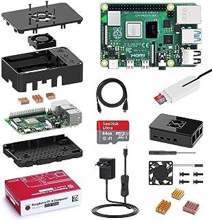 Bqeel Raspberry Pi 4 Model B 2GB RAM Starter Kit, MicroSD 64GB, RPi Barebone con Accessori Micro HDMI, Custodia, Alimentatore 5.1V 3A con Interruttore ECC