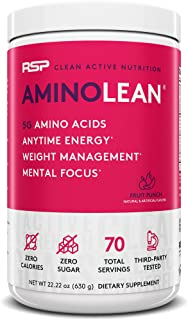 RSP AminoLean - All-in-One Pre Workout, Amino Energy, Weight Management Supplement with Amino Acids, Complete Preworkout E...