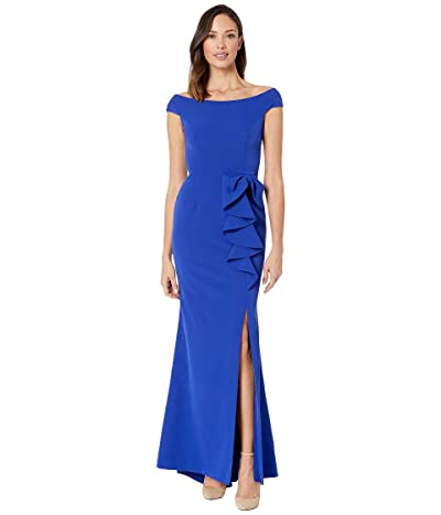 Vince Camuto Off the Shoulder Gown with Ruffle at the Side (Cobalt) Women