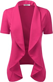 Womens Lightweight Thin Short Sleeve Open Front Blazer with Plus Size