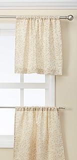 "Elrene Home Fashions Serene Window Tier, 30""x24"" (Set of 2 60""x15"" (1 Valance), Beige Linen"