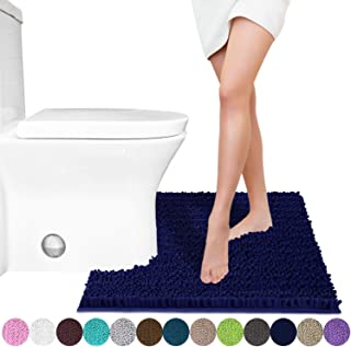 Yimobra Luxury Shaggy Toilet Bath Mat U-Shaped Contour Rugs for Bathroom, Soft and Comfortable, Maximum Absorbent, Dry Quickly, Non-Slip, Machine-Washable, 24.4 X 20.4 Inches, Navy Blue