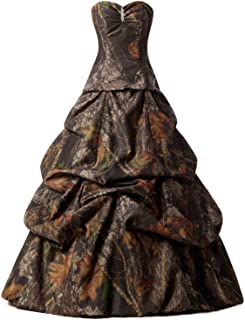 Womens A-line Strapless Sweetheart Pick-up Camo Wedding Bridal Dress