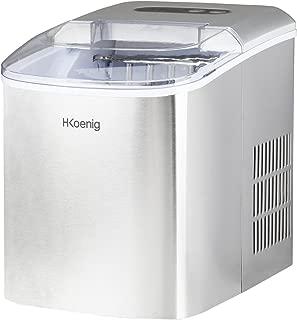 H.Koenig KB14 Machine à glaçons, 12kg en 24h, 2 tailles de glaçons automatique électrique compact portable sans installation silencieuse 2,1L, cube de glace rapide prêt en 13min, a poser sur comptoir