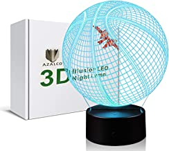 AZALCO Basketball 3D Illusion Night Light Lamp with 7 Color Change, Touch Base, Power by AA Batteries