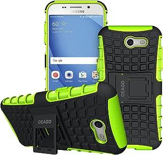 OEAGO Galaxy J3 Emerge / J3 Prime / J3 Eclipse / J3 2017 / J3 Luna Pro / J3 Mission/Sol 2 / Amp Prime 2 / Express Prime 2 Case, Tough Rugged Dual Layer Case with Kickstand (Green)