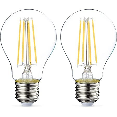 Amazon Basics Ampoule LED E27 A60 avec culot à vis, 7W (équivalent ampoule incandescente 60W), transparent avec filament - Lot de 2