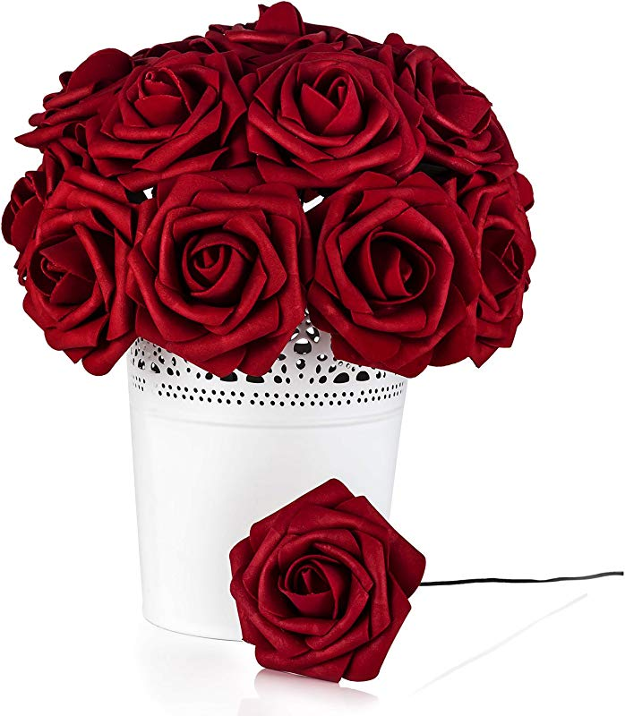 Umiss Roses Artificial Flowers Fake Flowers Wedding Decorations Set 50pcs Artificial Flora DIY Wedding Home Office Party Hotel Restaurant Patio Yard Decoration Red Wine