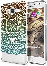 NALIA Funda Carcasa Compatible con Samsung Galaxy Grand Prime, Motivo Design Movil Protectora Fina Carcasa Silicona Cubierta, Goma Estuche Telefono Bumper Cover Case, Designs:Mandala Turquesa Verde