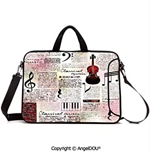 AngelDOU Customized Neoprene Printed Laptop Bag Notebook Handbag Classical Theme Instruments Piano Violin Notes Symbols Decorative Compatible with mac air mi pro/Lenovo/asus/acer Ruby Light